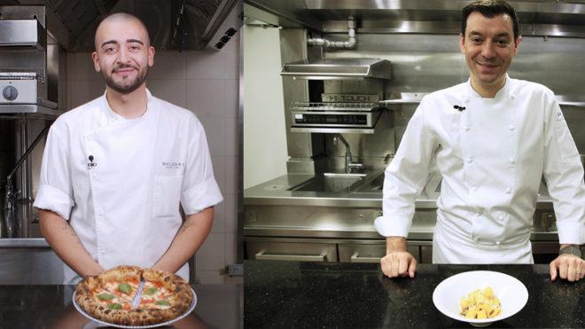 Federico Zolofra, chef de pizza del Resort Bvlgari de Dubai (a la izquierda) muestra el secreto de la auténtica Margarita, y  Luca Fantin, del restaurante Luca Fantin en Tokio, comparte su receta de pasta a la carbonara.