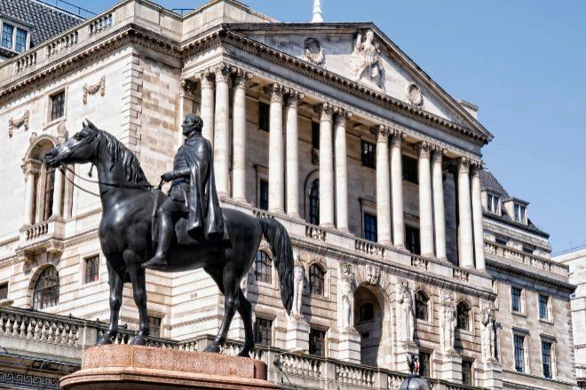 Fachada de la sede del Banco de Inglaterra.