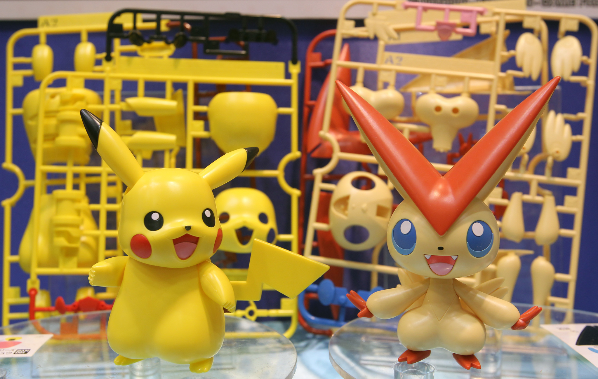 "FIGURAS DE PLASTICO DE LA SERIE POKEMON. PICACHU. Plastic models of Pikachu characters from the video lt;HIT gt;game lt;/HIT gt; ""Pokemon"" sit on display in the Bandai Co. booth at the International lt;HIT gt;Tokyo lt;/HIT gt; Toy lt;HIT gt;Show lt;/HIT gt; 2011 in lt;HIT gt;Tokyo lt;/HIT gt;, Japan, on Thursday, June 16, 2011. The trade lt;HIT gt;show lt;/HIT gt; will be held through June 19. Photographer: Junko Kimura/Bloomberg"