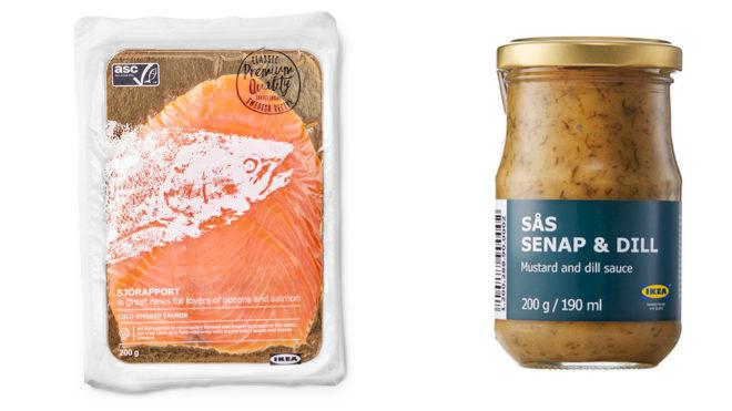 Salmón ahumado, 200 g, 6 euros; salsa de mostaza y eneldo, 200 g, 2 euros.