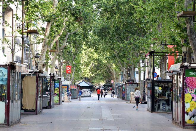 Uno de los principales iconos turísticos de Barcelona, Las Ramblas,...