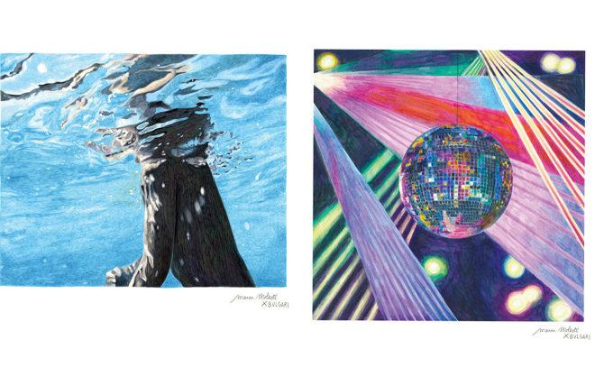 El mar y la vida nocturna de Ibiza retratadas por la artista Manon Manesti para el Bvlgari Ibiza.