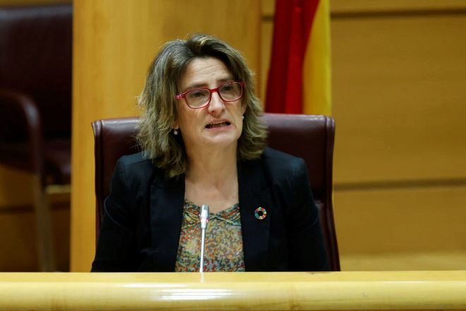 La ministra para la Transición Ecológica Teresa Ribera ante la Comisión de Transición Ecológica en el Senado en Madrid.