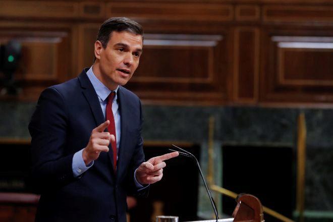 El presidente del Gobierno, Pedro Sánchez, durante su intervención en el pleno del Congreso del pasado miércoles.