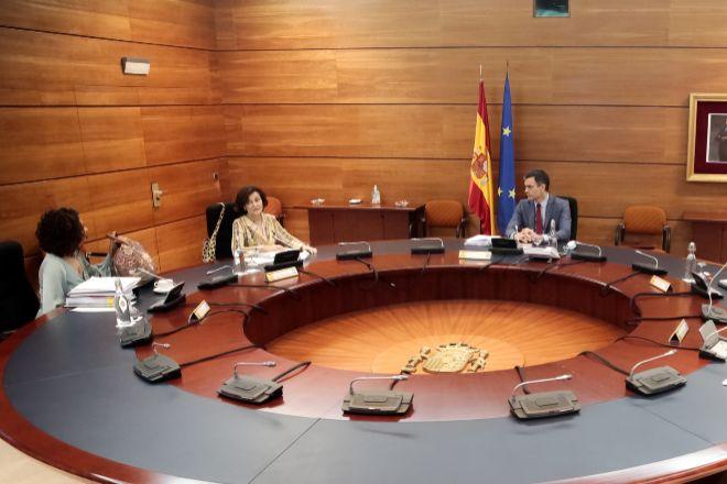 El presidente del Gobierno, Pedro Sánchez, preside el consejo de Ministros.