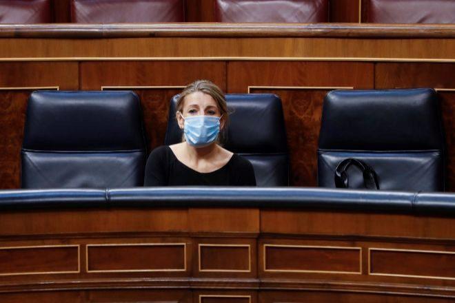La ministra de Trabajo, Yolanda Díaz, durante la votación de la...