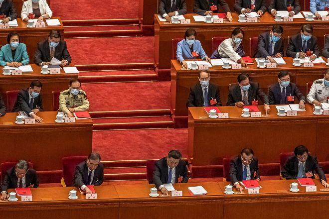 La Asamblea Nacional Popular de China hoy durante la votación de la ley de seguridad nacional de Hong Kong. ROMAN PILIPEY EFE