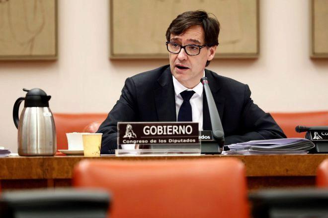 Salvador Illa, ministro de Sanidad, hoy en la comisión del Congreso.