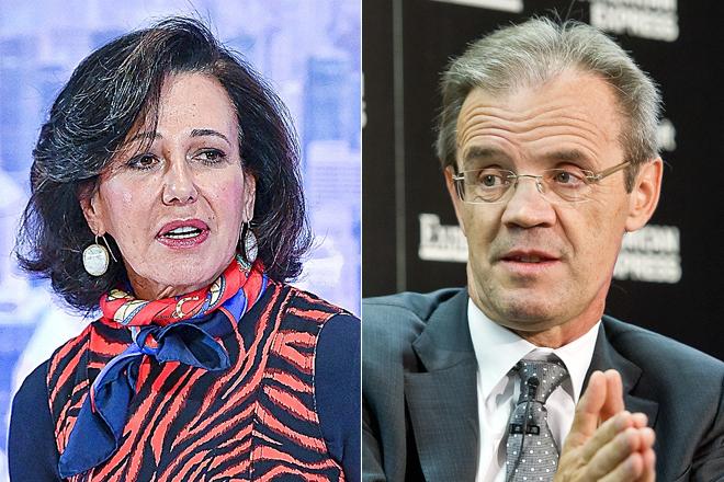 Ana Botín, presidenta de Santander, y Jordi Gual, presidente de CaixaBank.
