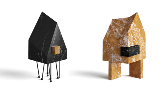 A la izquierda, casa Up, de mármol Nero Marquina y Giallo Siena; modelo Is, de Giallo Siena y Nero Marquina. Ambas miden 23,6 cm y su precio parte de 180 euros.