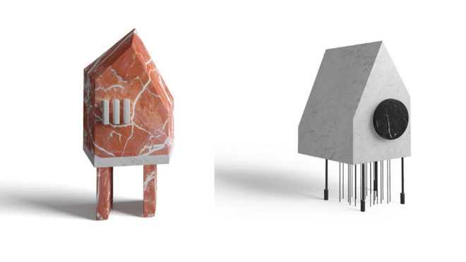A la izquierda, casa Be de mármol Rosso Francia y Bianco Carrara; modelo Do de Bianco Carrara y Nero Marquina.