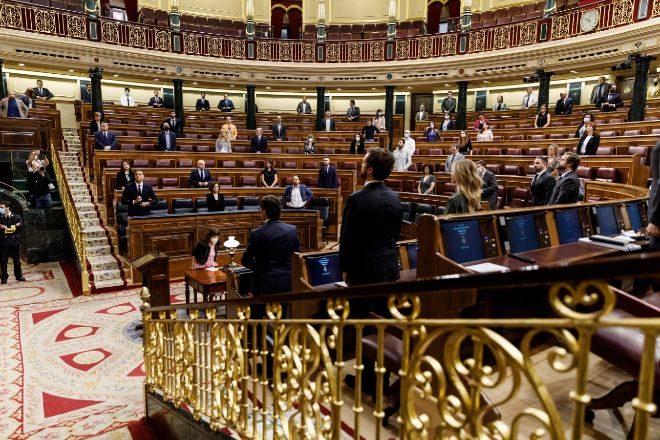 Los parlamentarios ayer guardando un minuto de silencio por las...