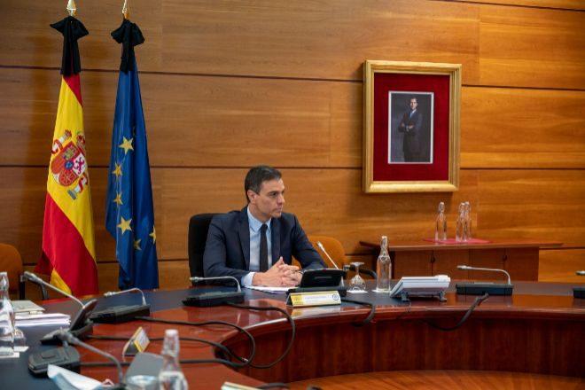 El presidente del Gobierno, Pedro Sánchez, hoy durante la reunión del Consejo de Ministros.