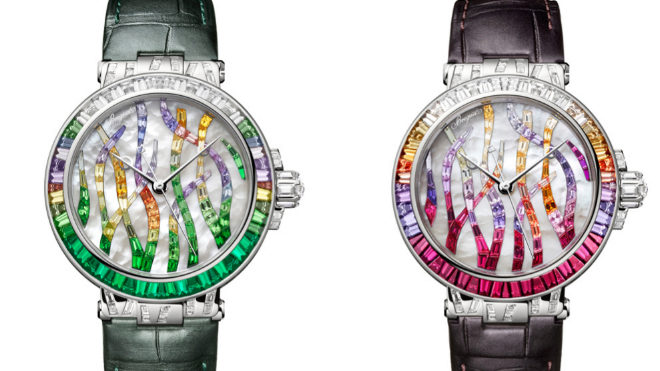 A la izquierda, edición Esmeralda del reloj con combinación de esmeraldas, tsavoritas, zafiros de color y diamantes, 271.400 euros; el modelo que suma rubíes, zafiros de color y diamantes, 251.300 euros.