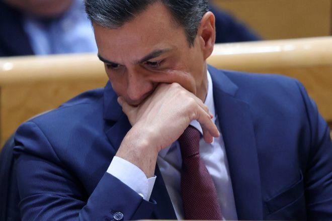 El presidente del Gobierno, Pedro Sánchez durante la sesión de control celebrada ayer martes en el Senado.