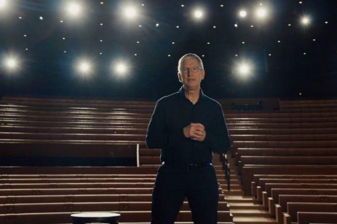 Tim Cook en el Teatro Steve Jobs.