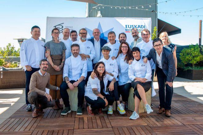 Reunión del Consejo Asesor Internacional de Basque Culinary Center, en julio de 2019, en San Francisco, donde se eligió el ganador del premio anual 'Basque Culinary World Prize'. En la imagen, chefs como Joan Roca, Andoni Luis Aduriz, Eneko Atxa, Dominique Crenn y Kyle y Katina Connaughton, que participarán en 'Gastronomy Shapers'.