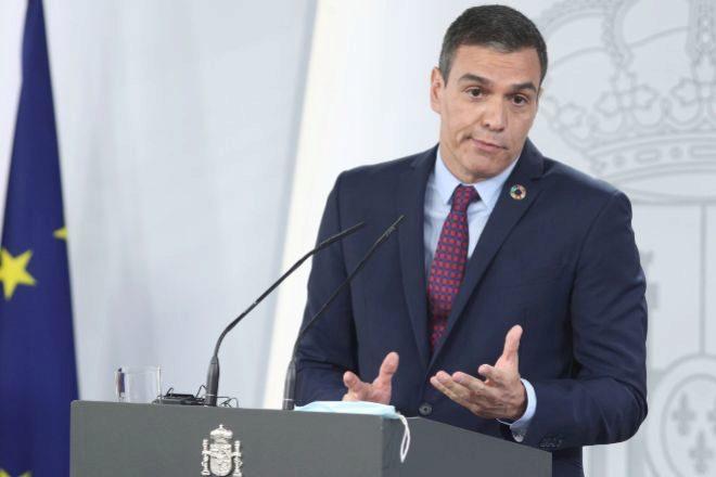 El presidente del Gobierno, Pedro Sánchez, ayer durante la rueda de prensa posterior a su reunión con el primer ministro italiano, Giuseppe Conte, en la Moncloa.