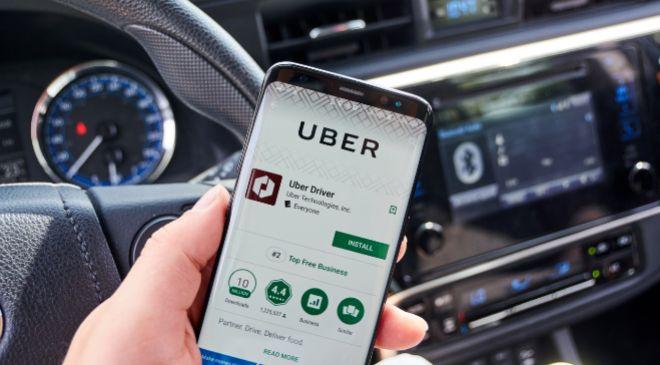 App de Uber en un smartphone.