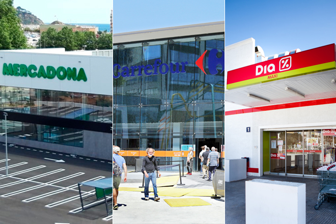 Supermercados de Mercadona, Carrefour y Dia.