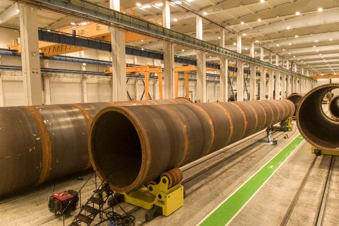 Una fábrica de aerogeneradores.