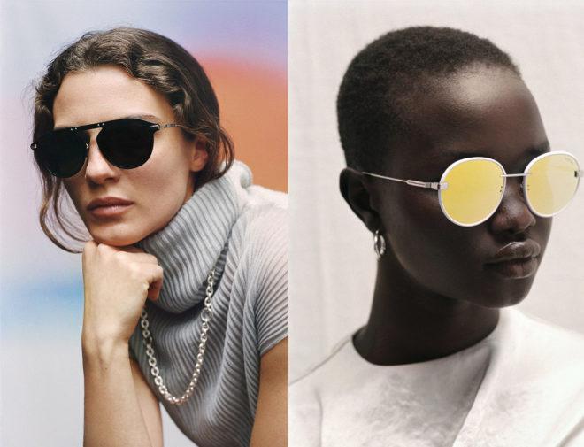 A la izquierda, gafas Bridge negras con lentes polarizadas 310 euros; a la derecha, modelo Rim en amarillo y cristal espejado, 250 euros.