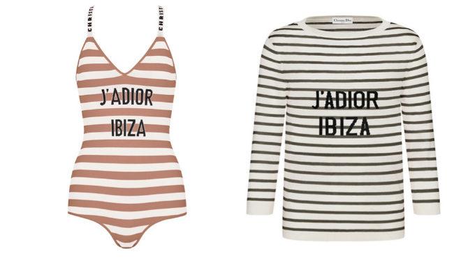 Traje de baño, 1.550 euros, y jersey de rayas marineras, 980 euros, de la colección exclusiva de Dior Ibiza.