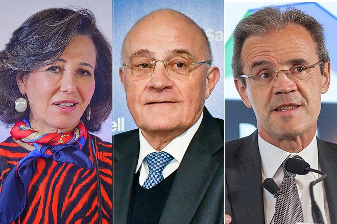 Montaje con los directivos de Santander, Sabadell y CaixaBank