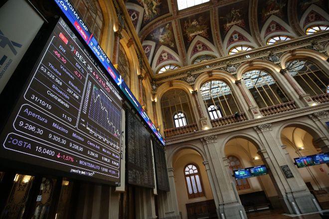 Vista del panel del Ibex 35 en la Bolsa de Madrid.
