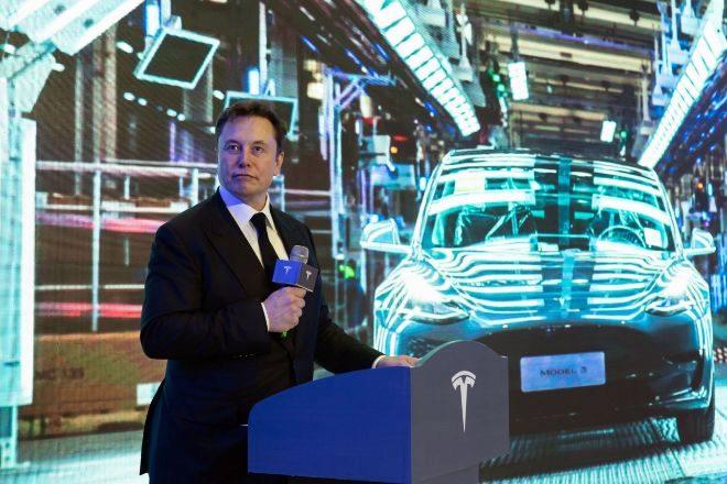 Elon Musk en una presentación en Shanghai