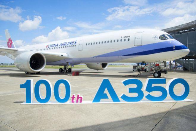 Avión del modelo A350 de Airbus en Toulouse (Francia).