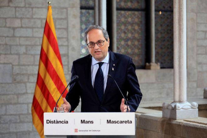 El presidente de la Generalitat, Quim Torra, durante la declaración...