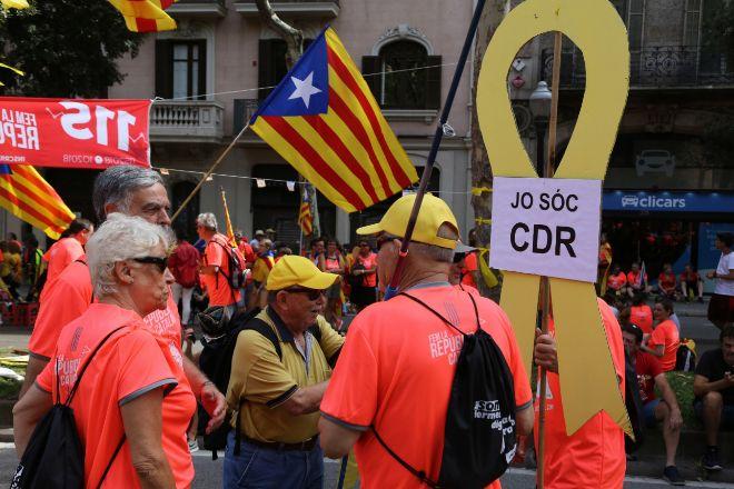 Movilización a favor de la independencia durante la Diada de 2018.