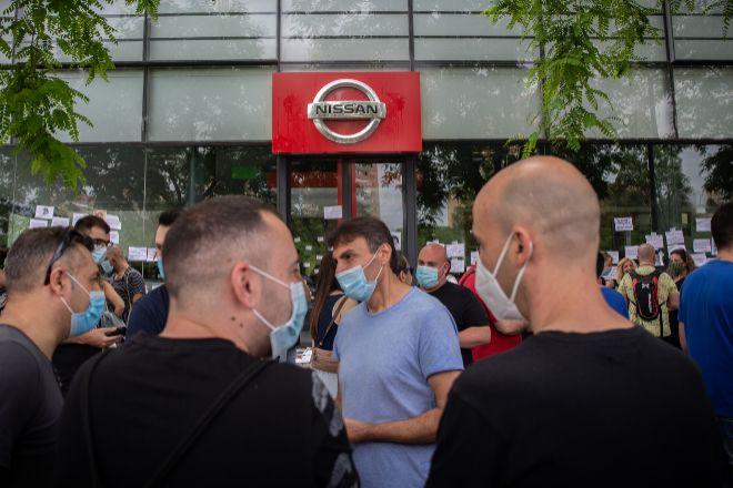 Trabajadores de Nissan durante una protesta