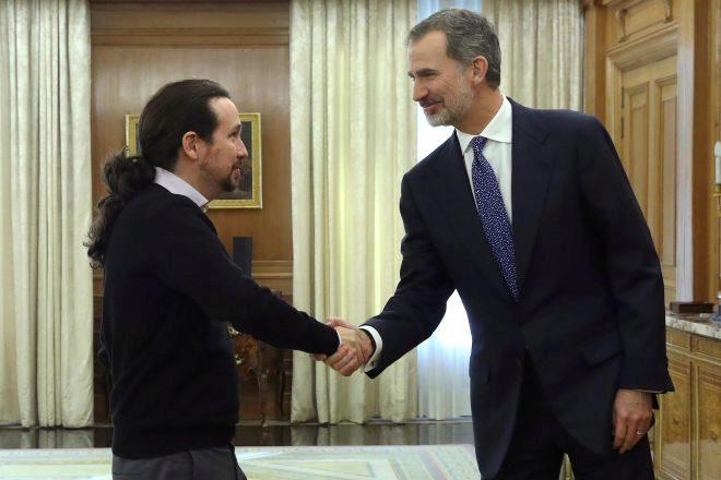 El Rey Felipe VI recibía en 2019 en audiencia al líder de Unidas Podemos, Pablo Iglesias.