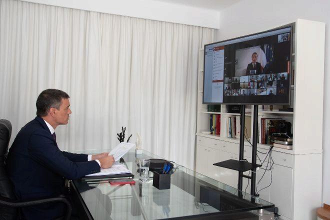 El presidente de Gobierno, Pedro Sánchez, durante la conferencia internacional de apoyo al Líbano.