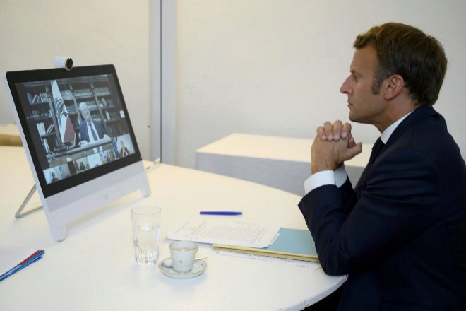 El presidente francés, Emmanuel Macron, durante la conferencia.