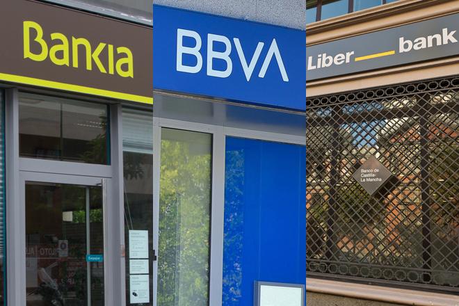 Sucursales de Bankia, BBVA y Liberbank.