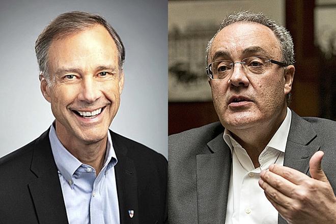 Tom Barlett, presidente y consejero delegado de American Tower, y Tobías Martínez, consejero delegado de Cellnex.