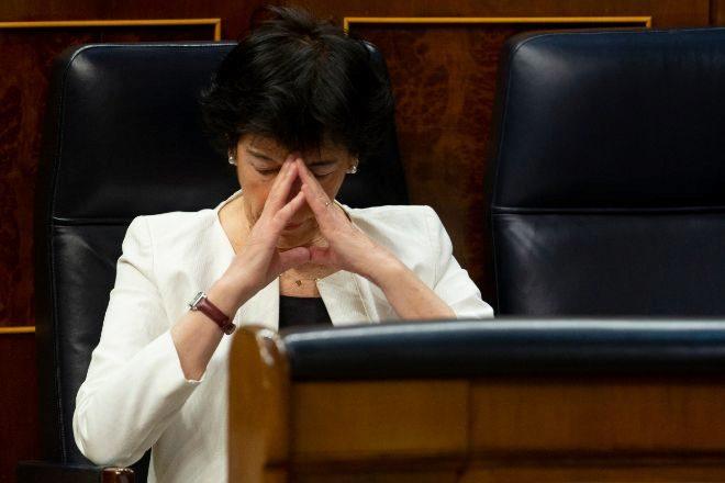 La ministra de Educación, Isabel Celaá, en el Congreso durante un pleno del pasado mes de junio.