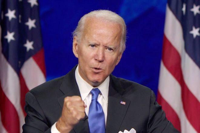 Biden durante la convención emitida desde Milwaukee, Wisconsin.