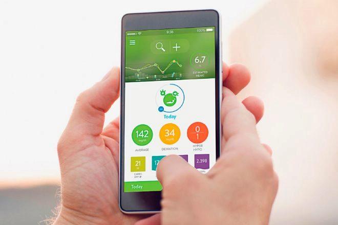 Imagen de archivo de una aplicación móvil dirigida a los diabéticos.