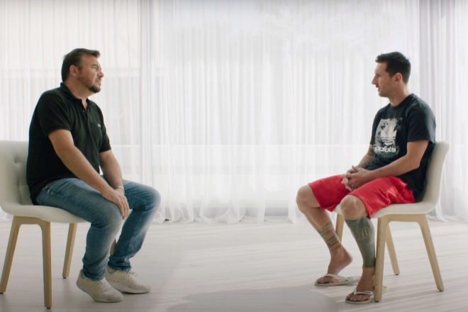 Leo Messi, durante la esperada entrevista en la que anunció al mundo que, finalmente, no se iba del Barça, tras su primer órdago al club catalán.