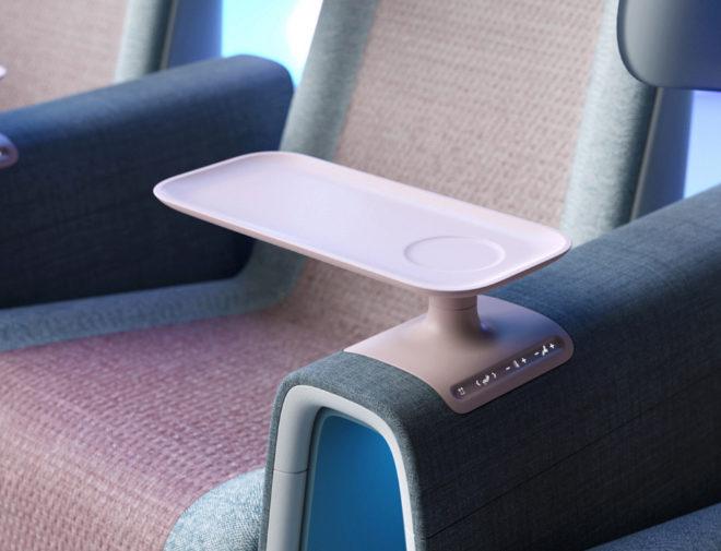 Detalle de la bandeja y el panel para ajustar el reclinado y el refuerzo lumbar.
