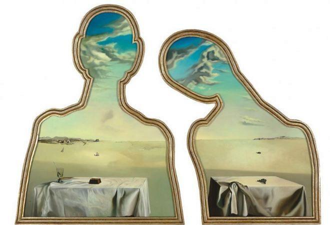 """Versión de """"Couple aux têtes pleines de nuages"""" de 1936 conservada en el Museo Boijmans van Beuningen de Róterdam (Países Bajos)."""