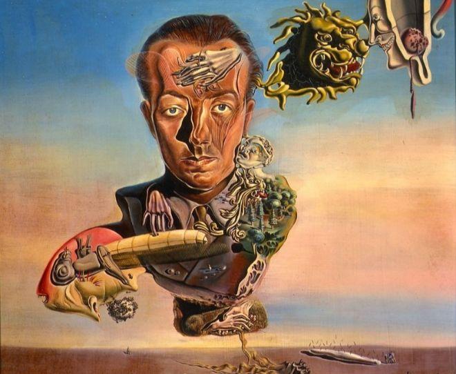 """""""Retrato de Paul Éluard"""" (detalle), de Salvador Dalí (1929). En 2011 se subastó en Sothebys por 22,4 millones de dólares, récord para una cuadro del artista hasta la fecha."""