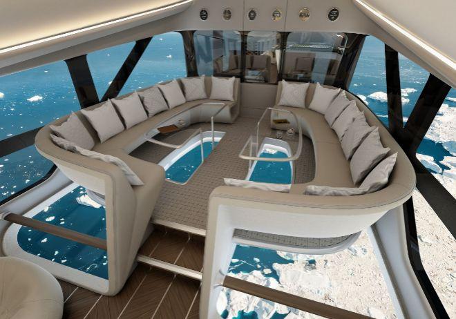 La cabina tendrá 250 m2. En la imagen, simulación del Infinity Lounge, con vistas panorámicas.