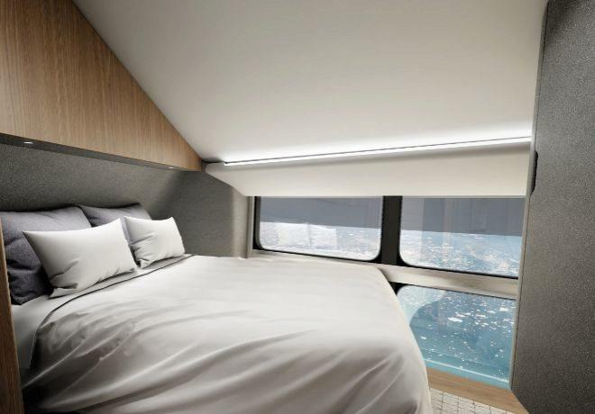 Interior de uno de los dormitorios dobles en la góndola del dirigible. La nave tiene capacidad para 16 pasajeros y siete tripulantes.