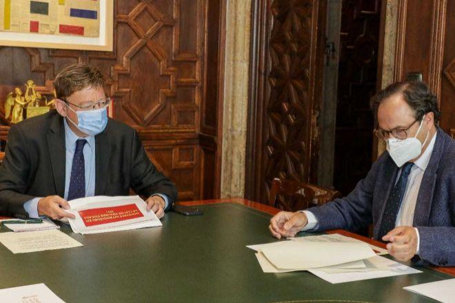 Ximo Puig y Vicent Soler, durante la reunión.