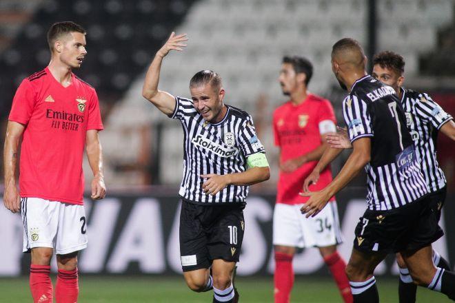 Imagen del partido de ayer entre el Benfica y el Paok de la fase...